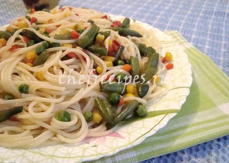 Макароны с замороженными овощами