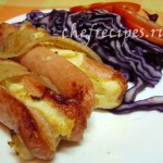 Сосиски с сыром и салом