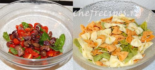Салат из макарон с моцареллой