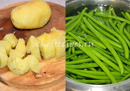Теплый салат из картофеля с фасолью