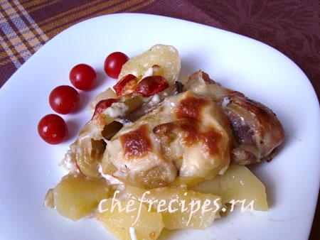 запеченная курица с картофелем