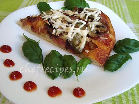 рецепт пиццы с салями и грибами