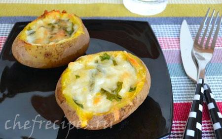 Фаршированная запеченная картошка в духовке