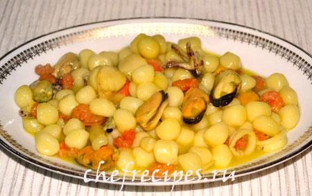 клецки с морепродуктами