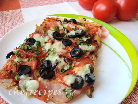 пицца с грибами лисичками