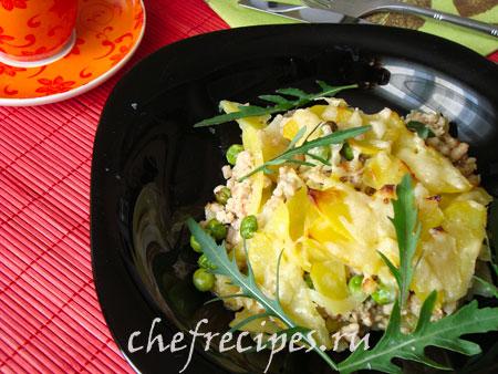 Запеченный картофель с зеленым горошком